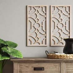 Set Of 2 Wood Lattice Wall Hanging Brown - Threshold™ : Target