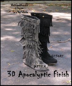 Post Apocalyptic LEATHER FRINGE Boots Apocalyptic Faux SUEDE Leather Boots Womens Size 7 Fallout Boots Black Suede by…