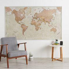 Huge Antique World Map 77.5 X 46 Vintage Elegant Home   Etsy