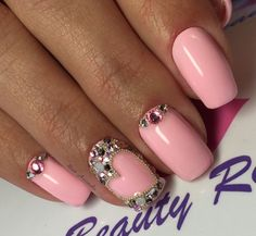 Beautiful evening nails, Beautiful nails, Hardware nails, Heart nail designs, Manicure for young girls, Nails trends 2017, Nails with stones, Party nails