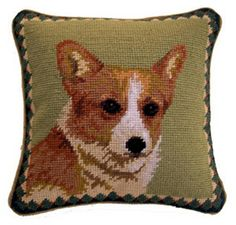 Corgi Needlepoint Pillow @ Agatha & Louise