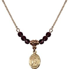 18-Inch Hamilton Gold Plated Necklace with 4mm Purple February Birth Month Stone Beads and Saint Elizabeth of Hungary Charm. 18-Inch Hamilton Gold Plated Necklace with 4mm Amethyst Birthstone Beads and Saint Elizabeth of Hungary Charm. Purple represents Amethyst, the Birthstone for February. Hand-Made in Rhode Island. Lifetime guarantee against tarnish and damage. Hamilton gold is a special alloy designed to have a rich and deep gold color.