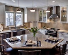 l shaped kitchen with central island. 8 foot kitchen island ideas #kitchenislandideas