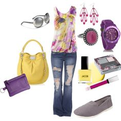 outfit...purple, yellow, casual