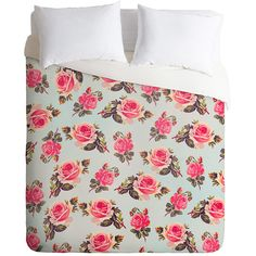 Deny Designs Allyson Johnson Pink Roses Duvet Cover & Tote ($75) ❤ liked on Polyvore featuring home, bed & bath, bedding, duvet covers, deny designs, pink bedding, pink tote bags, pink rose bedding and rose bedding
