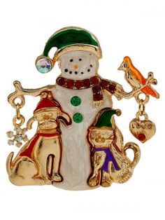 Christmas Snowman Enamel Brooch - GOLDEN Women s Brooches 08ddd1051050