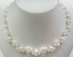 XaXe.com - 16'' white freshwater pearl & crystal necklace