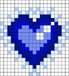 beaded hearts - & & Heart Of The Ocean Perler Bead Pattern / Bead Sprite by Littlekiddle Kandi Patterns, Bead Loom Patterns, Perler Patterns, Beading Patterns, Cross Stitch Designs, Cross Stitch Patterns, Cross Stitching, Cross Stitch Embroidery, Modele Pixel Art