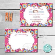 Tie Dye Birthday Invitation Tie Dye Invitation Tie Dye Birthday