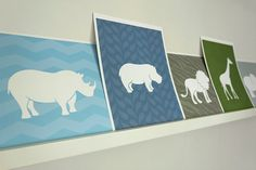 Hippo Art Print / Wild Animal Set / Choose your by jennasuedesign, $15.00