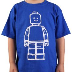 Blue Lego Minifig inspired kids t-shirt