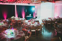studio reception with pink up-lighting