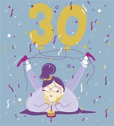 30 lat, urodziny, ilustracja, mioduszewska, birthday, 30, illustration, cake, party,