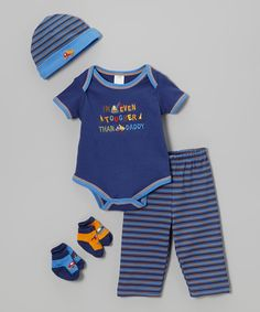 Loving this Blue 'Even Tougher Than Daddy' Five-Piece Layette Set on #zulily! #zulilyfinds