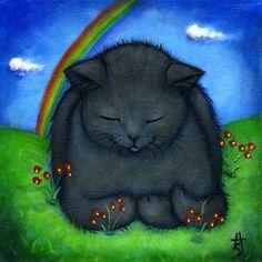 Black Cat at Rainbow Bridge original oil painting by heidishaulis