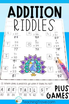 Kids love addition riddles! Adding two digit and three digit numbers will be so much fun with these 24 self-correcting worksheets and games. Perfect for centers, fast finishers and sub tubs, your 2nd grade and third grade students are going to love practicing regrouping. The bonus four games will be perfect to use in your math centers. #additiongames #additionworksheets #additionwithregrouping #twodigitaddition #3digitaddition