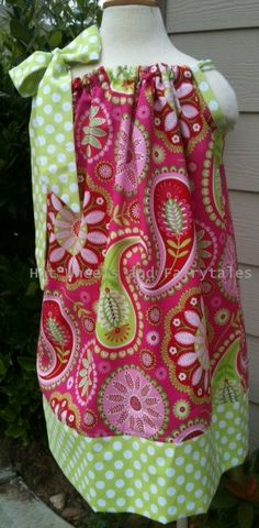 Girls Pink & Lime Paisley Pillowcase dress.Sizes 0-12 mths - size 8 available. Matching boys tie available. Matching doll dress available.. $16.00, via Etsy.
