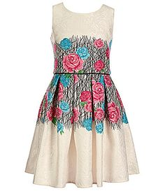 Blush by Us Angels Big Girls 716 Floral Brocade Skater Dress #Dillards