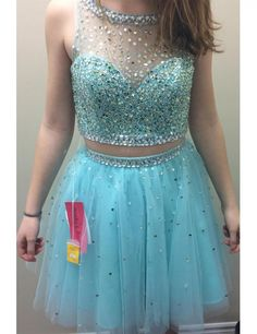 2016 Cute Short Light Blue Prom Dresses Beaded Tulle Sheer Prom Dress Two Piece Prom Gowns Beautiful Crystals Party Dress RT64