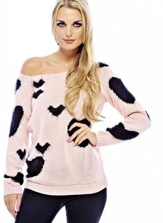 A cool jumper is the perfect way to cover up when it gets a little chilly. This multi heart knitwear  is gorgeous for creating this season's trend with a dip hem effect team with legging and winter boots Approx length from shoulder to hem: 58cmColor: PINK/BLACK  S is S-M L is M-L  KW116PIBLK-K7