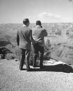 """""""Don't worry Bob, If you slip, I got ya by the seat of your britches.""""  Tourists taking in the magnificent views of the Grand Canyon National Park - 1950"""
