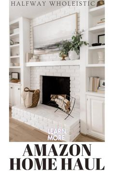 Bedroom Fireplace, Home Fireplace, Living Room With Fireplace, Fireplace Design, White Mantle Fireplace, Fireplace Hearth Decor, Off Center Fireplace, Shelves Around Fireplace, Fireplace Built Ins