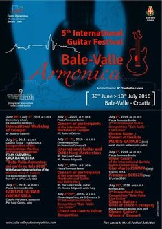 """Saturday 9th July in concert for """"5th International Guitar Festival"""" in Bale (Croatia) !  I will be also in the jury of the """"International Guitar Competition""""...looking forward to listen to a lot of great guitarists come from all the world!  Bale. Jul 2016."""