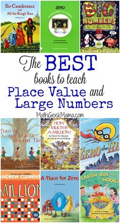 This is such a helpful list of books that can be used to teach place value and explore large numbers with kids! There are so many great ideas, as well as free resources Math For Kids, Fun Math, Math Games, Math Activities, Math Resources, Math 5, Word Games, Classroom Resources, Educational Activities