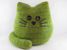 This is Pickles the Cat. He is a sweet creature knitted in the round, either in the magic loop or on dpns, your choice. There is minimal sewing in