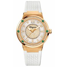 Salvatore Ferragamo Womens F-80 Precious White Dial And Emerald Watch (5,936,780 KRW) ❤ liked on Polyvore featuring jewelry, watches, salvatore ferragamo watches, rubber strap watches, salvatore ferragamo, dial watches and salvatore ferragamo jewelry