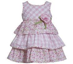 Bonnie Jean Girls Pink Tiered Flowery Dress Stunning 3-4 Years (4T)