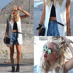 She Inside White Sleeveless Shoulder Pads Blazers, Chicnova Retro Oversized High Waist Denim Shorts With Waistband, Choies Metal Clasp And Hollow Round Toe Shoes, Choies Green Round Lens Sunglasses With Metal Frame