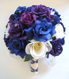 Wedding flowers silk Bridal bouquet 17 piece by Rosesanddreams