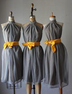 mismatched bridesmaid dresses / gray / yellow  / Bridesmaid / Romantic  / Fairy / Dreamy / Bridesmaid / Party /dresses /  wedding / Bride. $99.99, via Etsy.