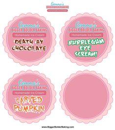 Gemma's Halloween Homemade Ice Cream Labels