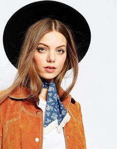Image 1 of ASOS Denim Bandana With Mini Fringe Neck Tie
