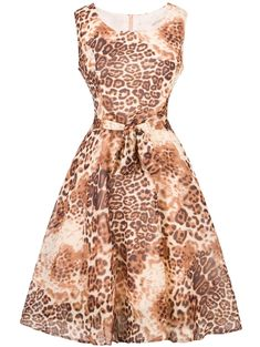 4e628f1687 Photo Gallery - Vintage Tie-Waist Leopard Print Dress