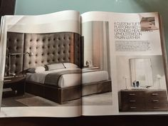 Nice masculine-looking bedroom, though I'd do without the extended headboard.