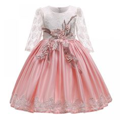Kid Girls Elegant Wedding Pearl Petals Girl Dress Princess Party Pageant Long Sleeve Lace Tulle for 3 4 5 6 7 8 9 10 Years - Lumi-Online 10 Years Girl Dress, Dress For Girl Child, Toddler Girl Dresses, Girls Dresses, Flower Girl Dresses, Princess Dresses, Toddler Girls, Girls Party Dress, Wedding Party Dresses