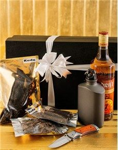 Gift hamper with Klipdrift brandy, Kudu biltong, a biltong knife and hip flask, for a taste of South Africa, available for delivery throughout South Africa. Fathers Day Hampers, Man Crates, Biltong, Gift Hampers, St Patricks Day, Craft Beer, Flask, Red Wine, South Africa