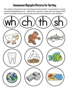 33 FREE colorful digraph pictures for sorting activities. Great for small group intervention!: