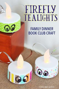 Make adorable firefly tealights inspired by the children's book Firefly Hollow by Alison McGhee! This month's Family Dinner Book Club table craft is easy and fun for kids to create and is perfect for summer decorating. So cute!