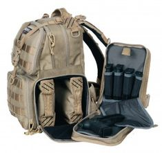 Tactical Range Backpack - G Outdoors. Pretty big backpack, but great for the range. it has individual compartments for pistols, magazines, eye/ear protection, targets, tape, stapler, ammo, etc.