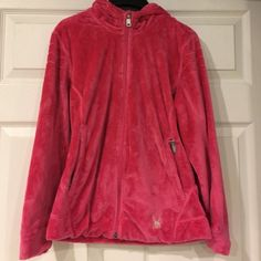 Hooded Spyder Shell Super soft-worn gently Spyder jacket-pretty magenta color 2 side pockets and hood! Great condition Spyder Jackets & Coats