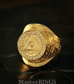 Masonic large signet ring All-seeing eye ring by MasterRings