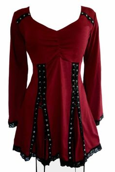 Dare To Wear Gothic Victorian Women's Plus Size Electra Corset Top Garnet Gothic Fashion, Look Fashion, Trendy Fashion, Plus Size Fashion, Womens Fashion, Fashion 2018, Fashion Clothes, Plus Size Corset Tops, Plus Size Tops