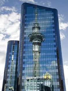 Skytower reflection as seen from the Crowne Plaza Auckland, New Zealand