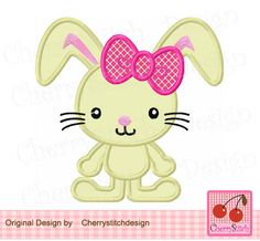 Easter Bunny,Bunny Digital Applique for girls,Rabbit applique -for 4x4 5x7 6x10 hoop-Machine Embroidery Applique Design by CherryStitchDesign on Etsy