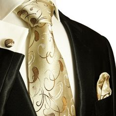 Elegant Brown and Tan Paul Malone Silk Necktie Set (915CH)