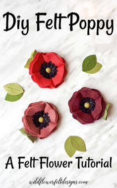 DIY Felt Poppy Flower Learn how to make felt flower poppies with this simple tutorial. Create a super pretty DIY felt poppy to add to bouquets, wreaths or hair clips. Felt Crafts Diy, Felt Diy, Fabric Crafts, Scrap Fabric, Felt Fabric, Easy Crafts, Handmade Flowers, Diy Flowers, Fabric Flowers